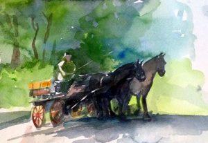 עגלה עם סוסים ליזבט
